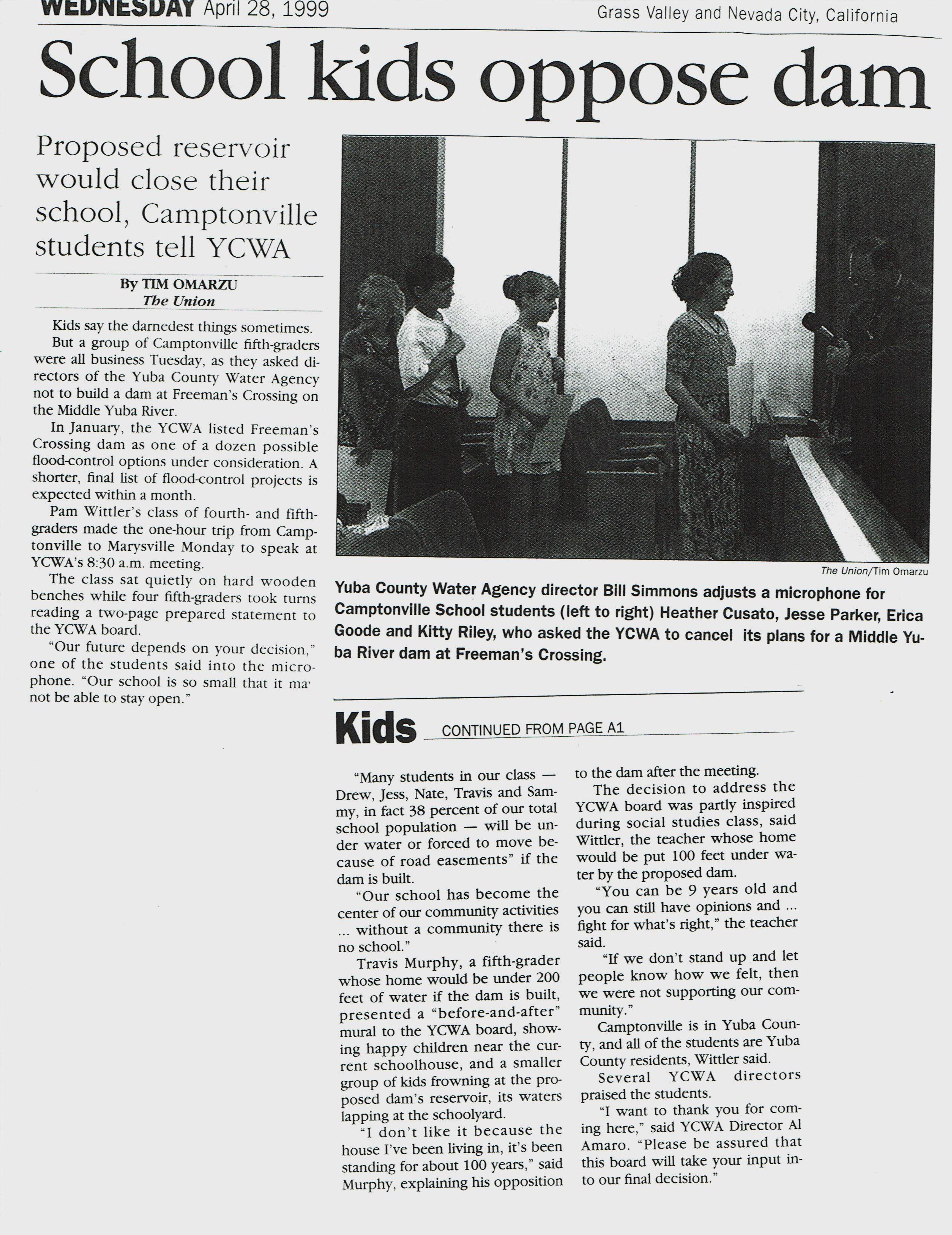CV Students Oppose Dam 1999